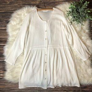Bryn Walker White Lagenlook Prairie Cotton Dress